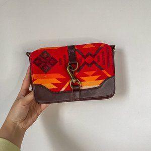 Pendleton Red Wool Leather Clutch Bag Western Wool